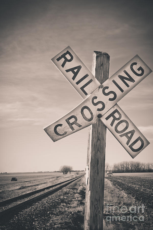 Railroad Crossing Sign Photograph - Crossings by Christina Klausen