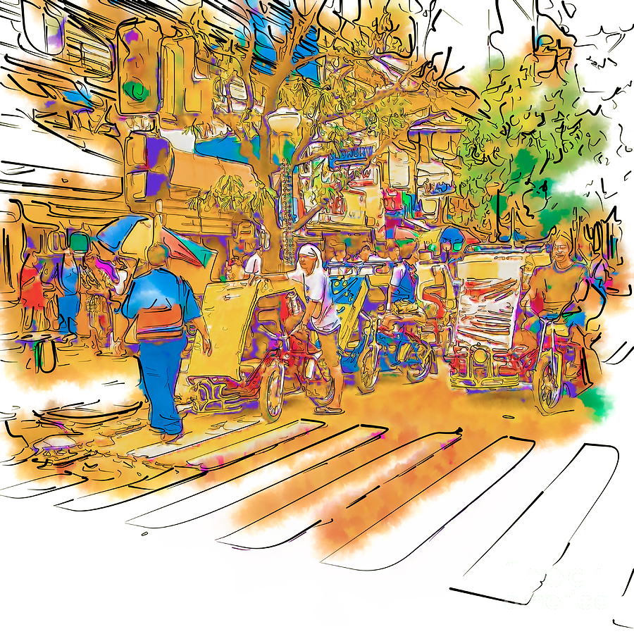 Asia Drawing - Crosswalk In The Philippines by Rolf Bertram