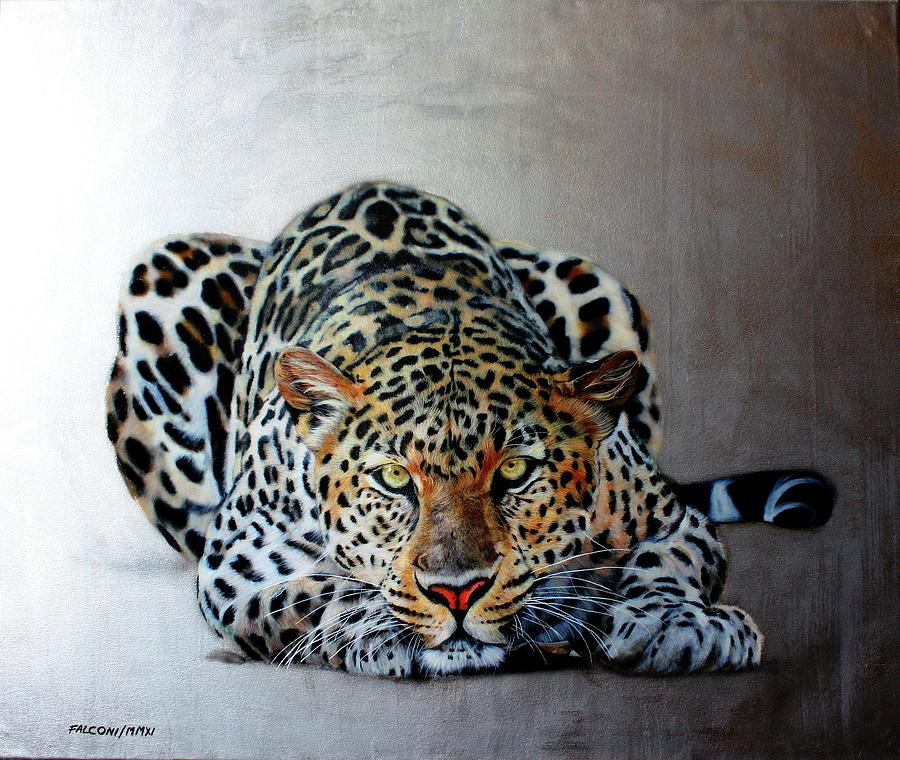 Leopard Painting - Crouching Leopard by Susana Falconi