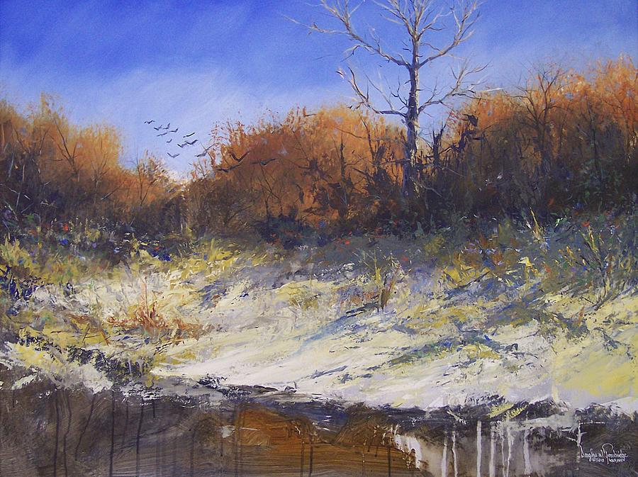 Crows Along The Cottonwood Painting