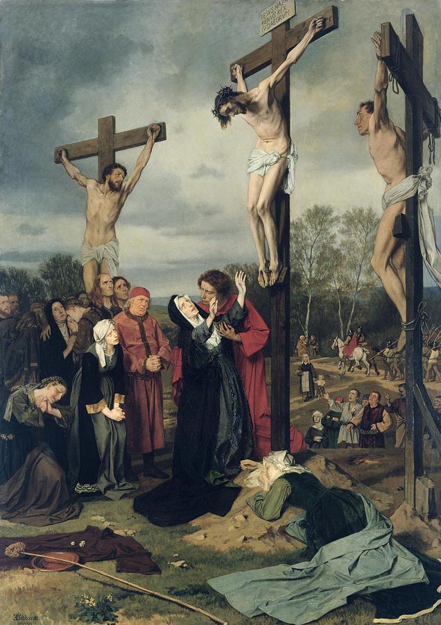 Crucifixion Painting By Eduard Karl Franz Von Gebhardt