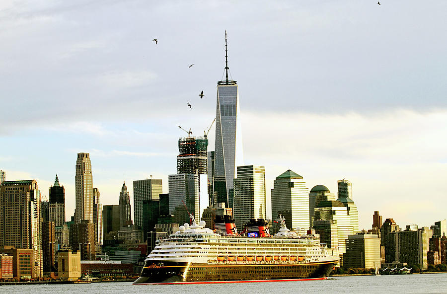 Cruise Ship Leaving Port From New York City Passing