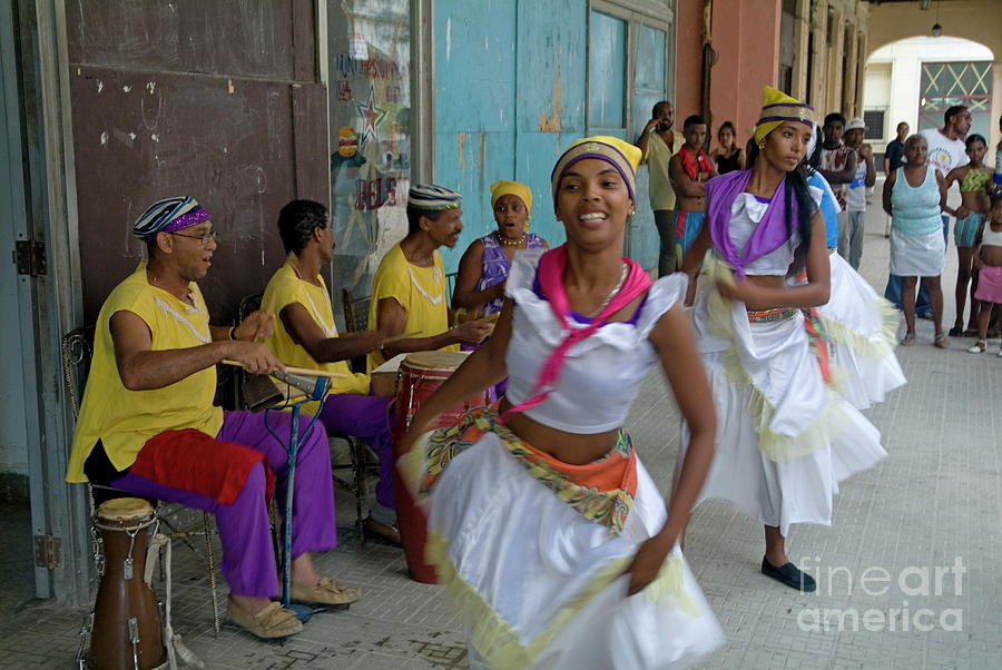 Adult Photograph - Cuban Band Los 4 Vientos And Dancers Entertaining People In The Street In Havana by Sami Sarkis