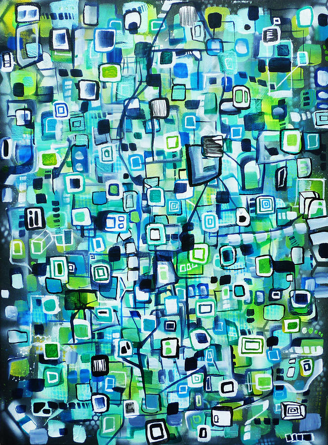 Cubic space junk painting by larry calabrese for Cubi spaceo