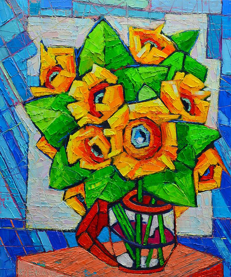 sunflower painting   cubist sunflowers   original oil painting by ana