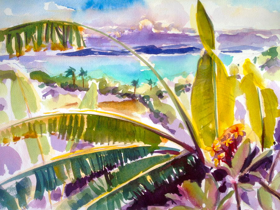 Caribbean Painting - Culebra And Bananas by Barbara Richert