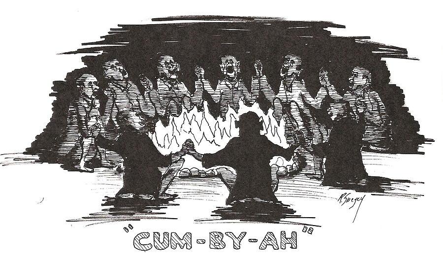 Feralgenaria Drawing - Cum By Ah by Roger Swezey