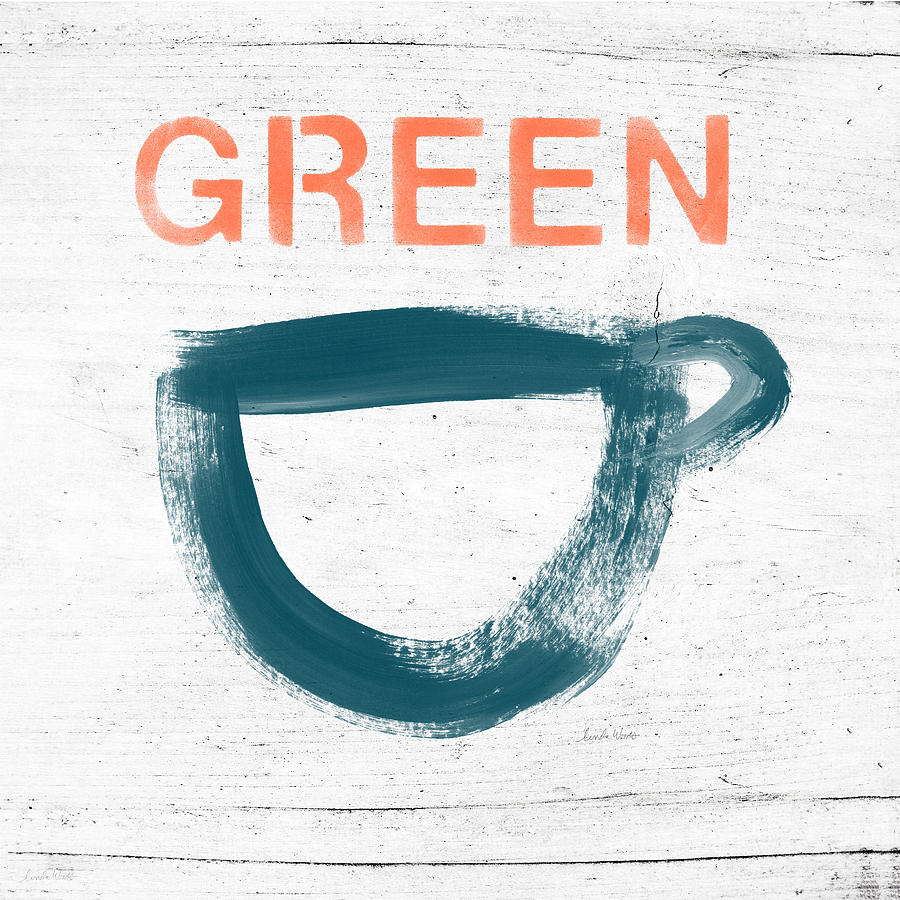 Cup Of Green Tea- Art By Linda Woods Painting