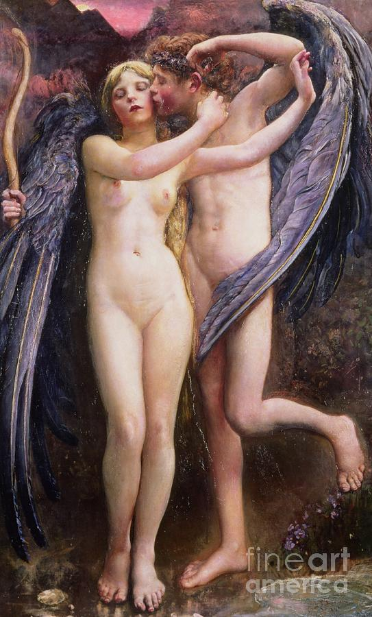 Cupid And Psyche Painting - Cupid And Psyche by Annie Louisa Swynnerton