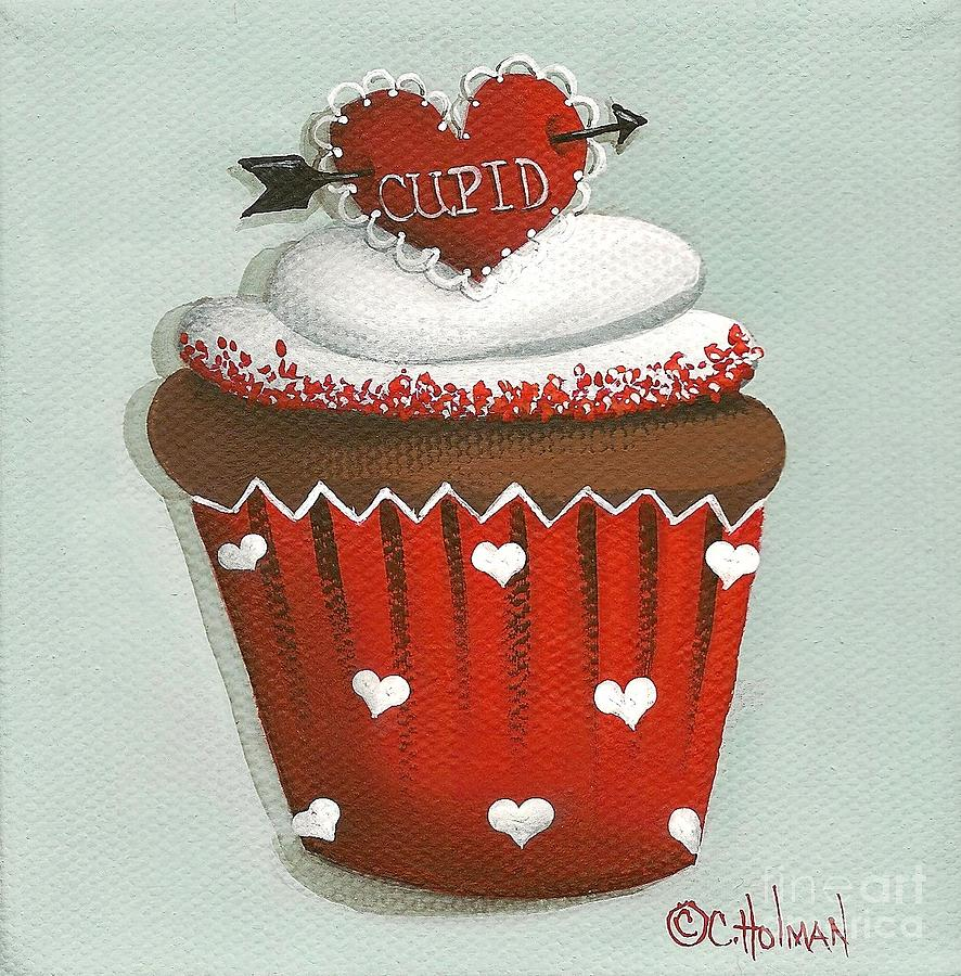 Tiny Red Sprinkles Glisten On The Edge Of This Luscious Butter Cream Frosting. This Chocolate Cupcake In A Red Wrapper Is Accented With White Hearts.  A Red cupid Heart Pearced By An Arrow Tops It Off.  Painting - Cupids Arrow Valentine Cupcake by Catherine Holman