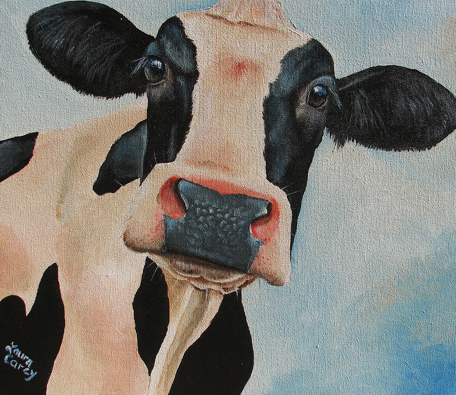Cow Painting - Curiosity by Laura Carey