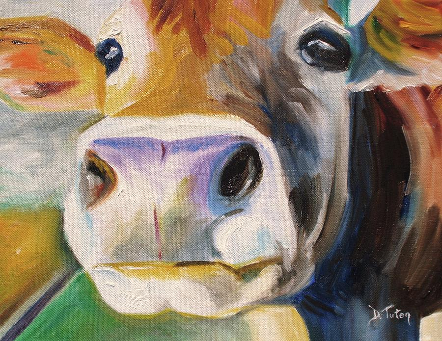Curious Cow Painting - Curious Cow by Donna Tuten