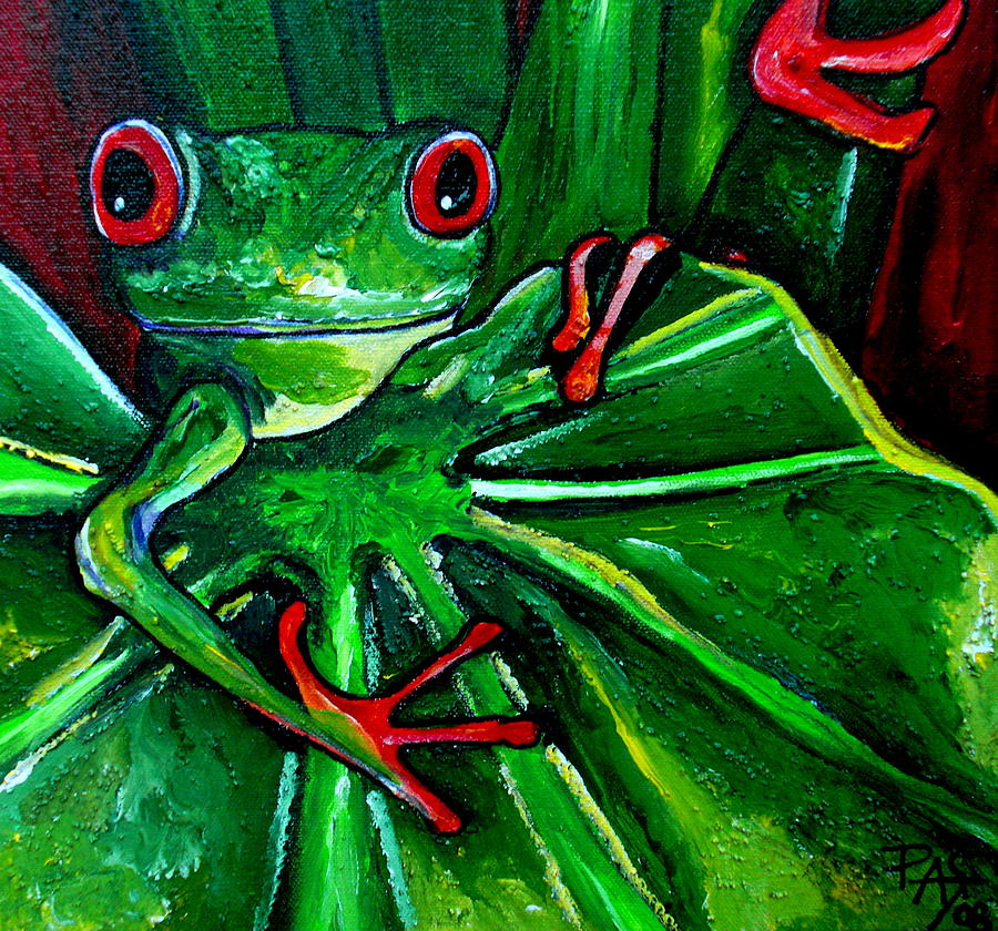 Tree Frog Painting - Curious Tree Frog by Patti Schermerhorn