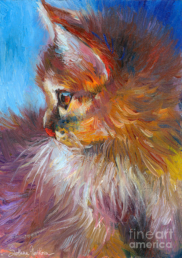 Tubby Cat Painting Painting - Curious Tubby Kitten Painting by Svetlana Novikova
