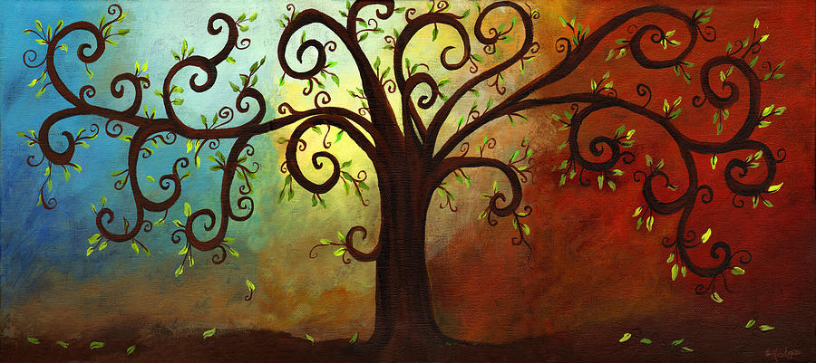 Tree. Branch Painting - Curly Branches Tree by Elaine Hodges