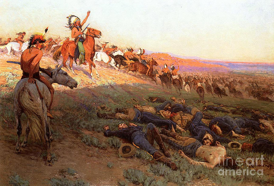 Custer's Last Stand; Battle; Little Bighorn; Greasy Grass; George Armstrong Custer; Crazy Horse; Native American Indian; Indians; Americans; United States; Army; Cavalry; Horses; Great Sioux War; Lakota; Northern Cheyenne; Arapho; Dead; Death; Bodies; Triumph; Victory; Triumphal; Leader; Dusk; Sunset; Dramatic; Heroic; Black Hills War; Combat; Warfare; Battles Painting - Custers Last Stand by Richard Lorenz
