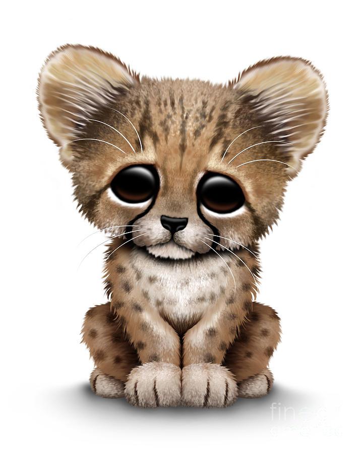 Cute Baby Cheetah Cub Digital Art By Jeff Bartels
