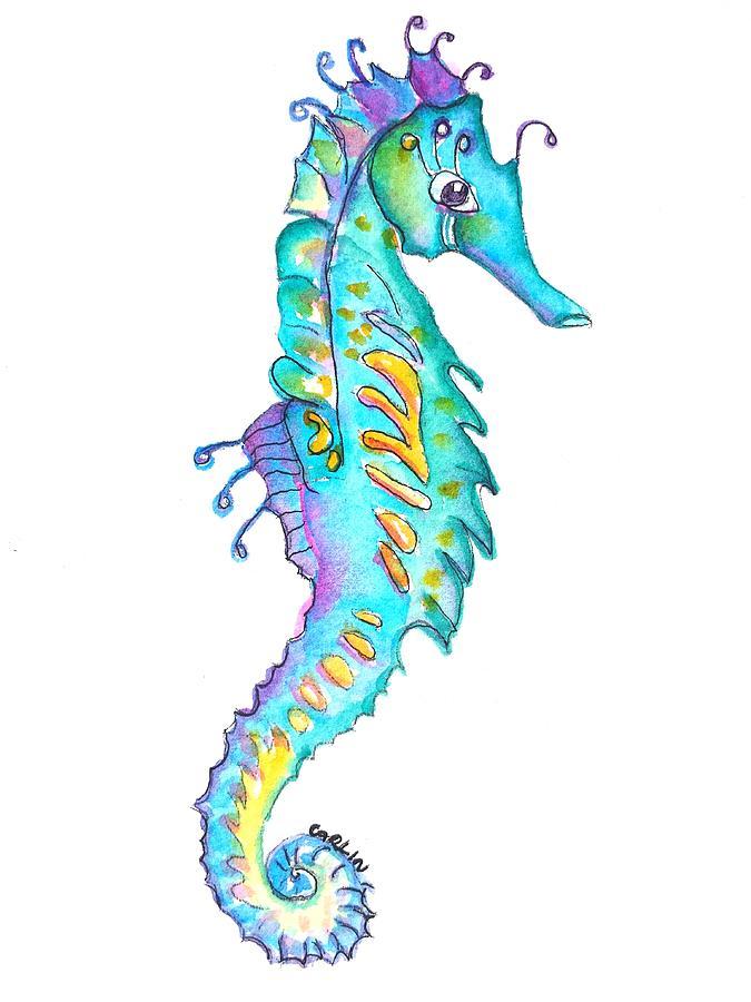 Cute Colorful Seahorse Painting By Carlin Blahnik