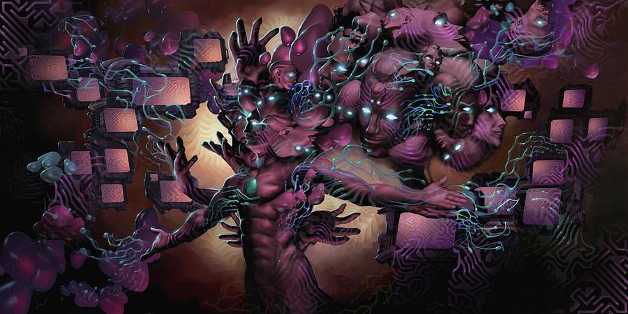 Cyber Digital Art - Cyberspatial Telepathy by George Atherton