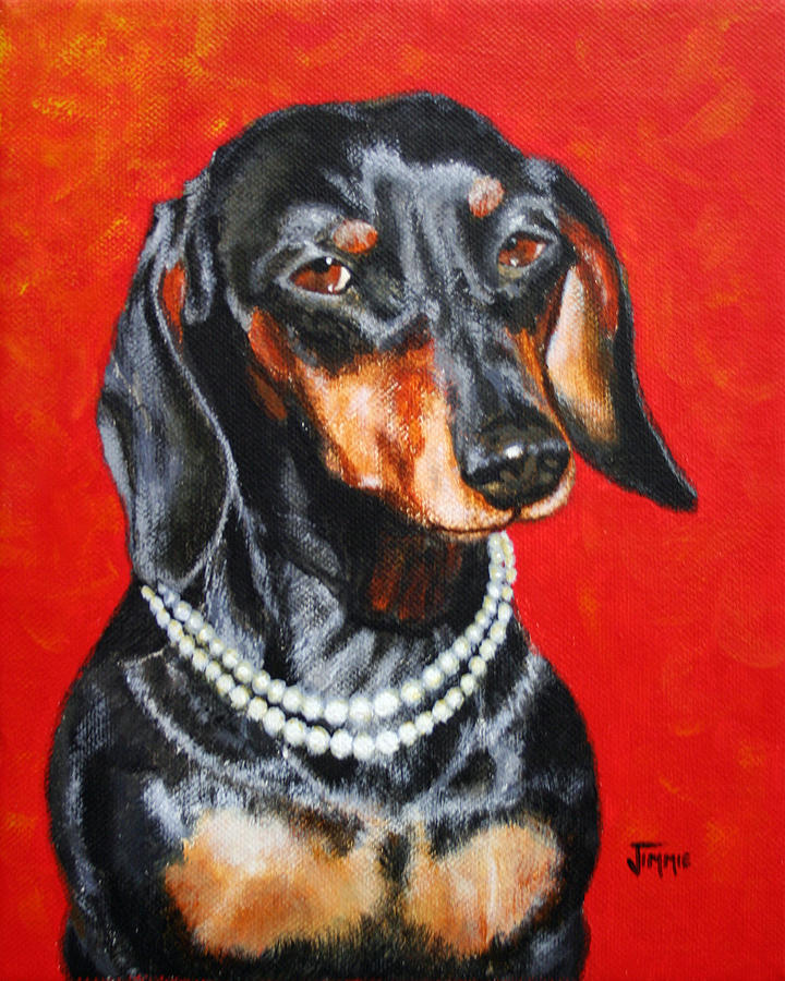 Black Painting - Dachshund In Pearls by Jimmie Bartlett