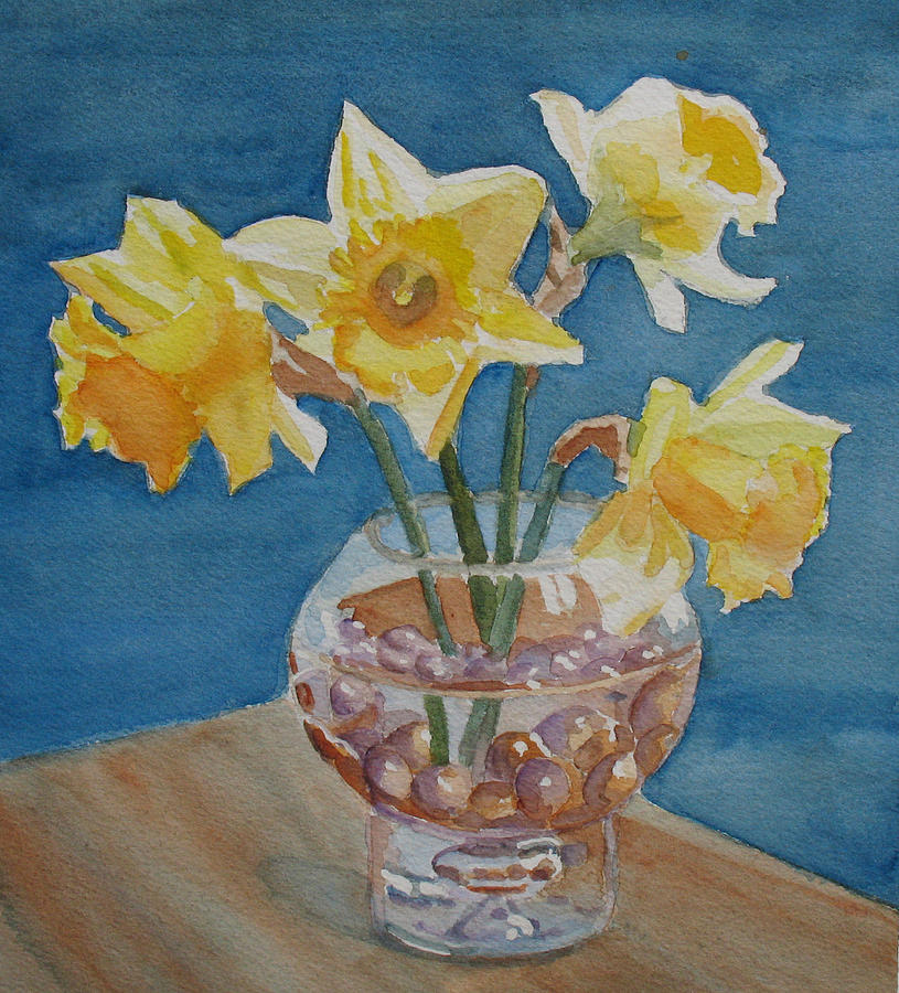 Daffodils Painting - Daffodils And Marbles by Jenny Armitage