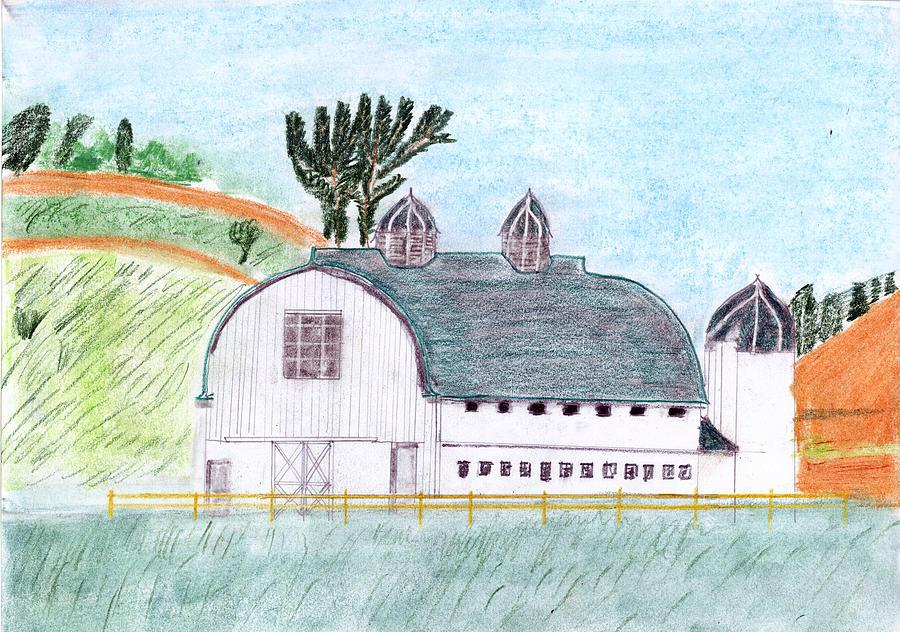Dairy Barn Drawing - Dairy Barn by John Hoppy Hopkins