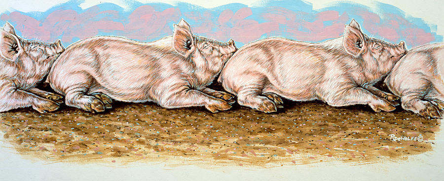 Pigs Painting - Daisy Chain by Richard De Wolfe