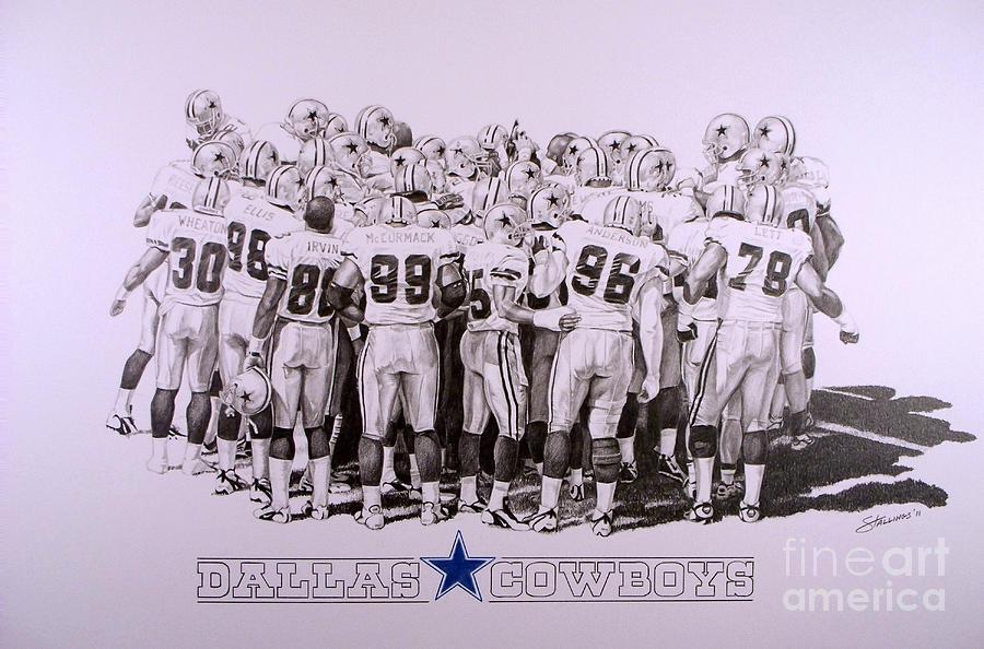 Dallas Drawing - Dallas Cowboys by Shawn Stallings