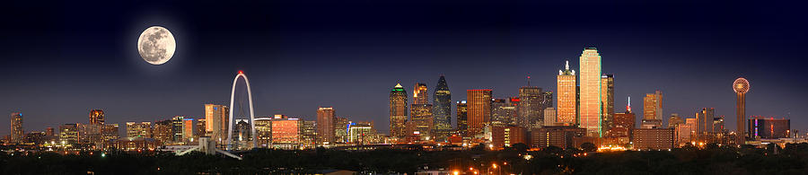 Dallas Skyline Night Photograph - Dallas Skyline At Dusk Big Moon Night  by Jon Holiday