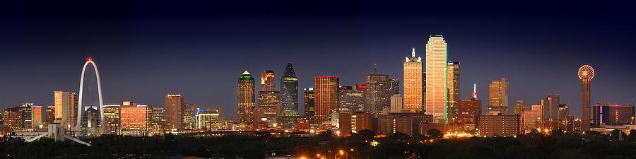 Dallas Skyline Night Photograph - Dallas Skyline At Dusk  by Jon Holiday
