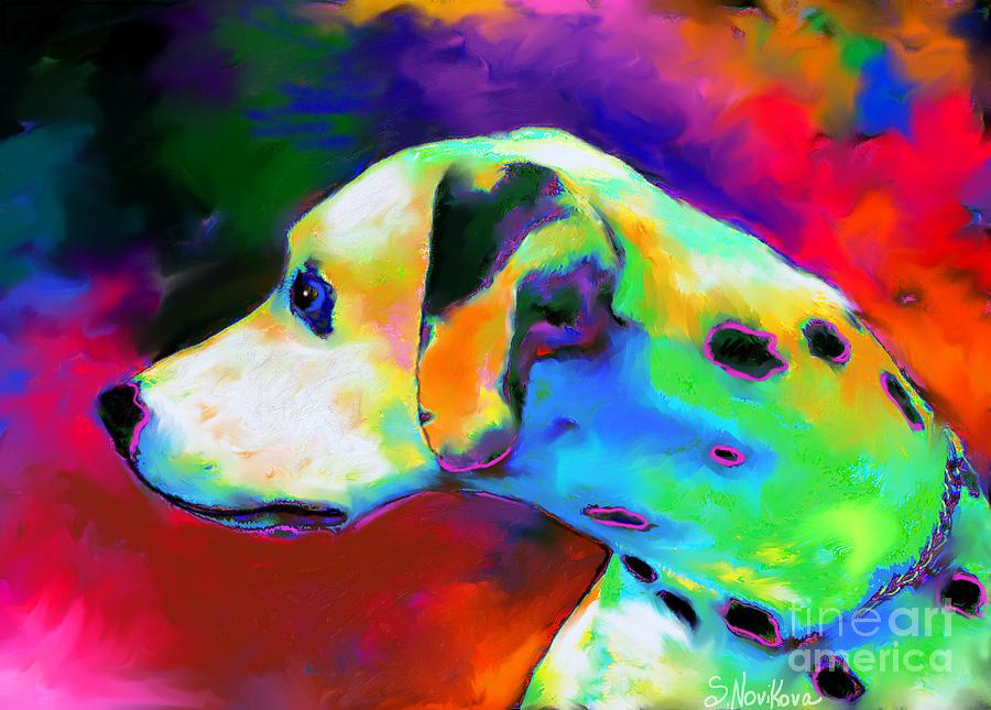 Dalmatian Dog Painting - Dalmatian Dog Portrait by Svetlana Novikova