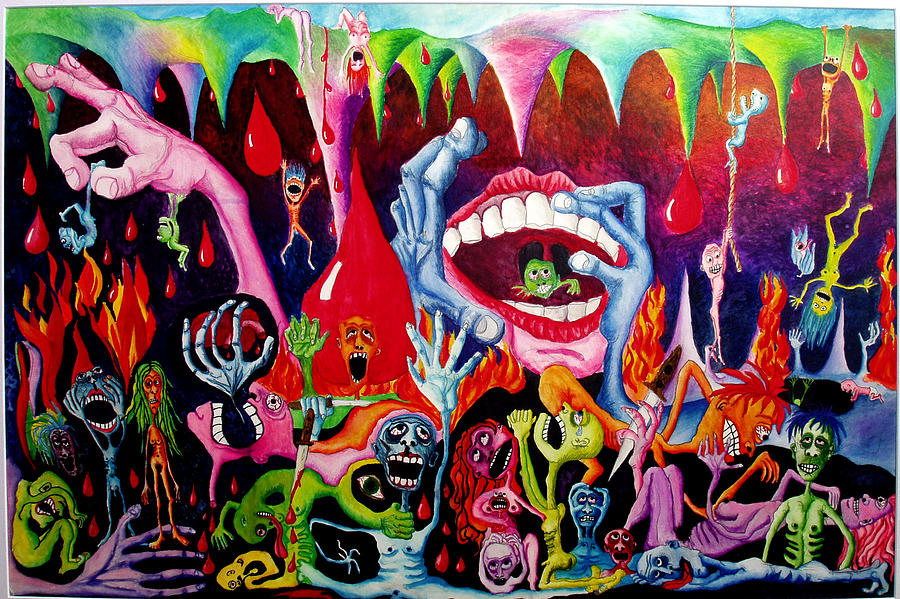 Hell Painting - Damnation Of The Evil by Nancy Mueller