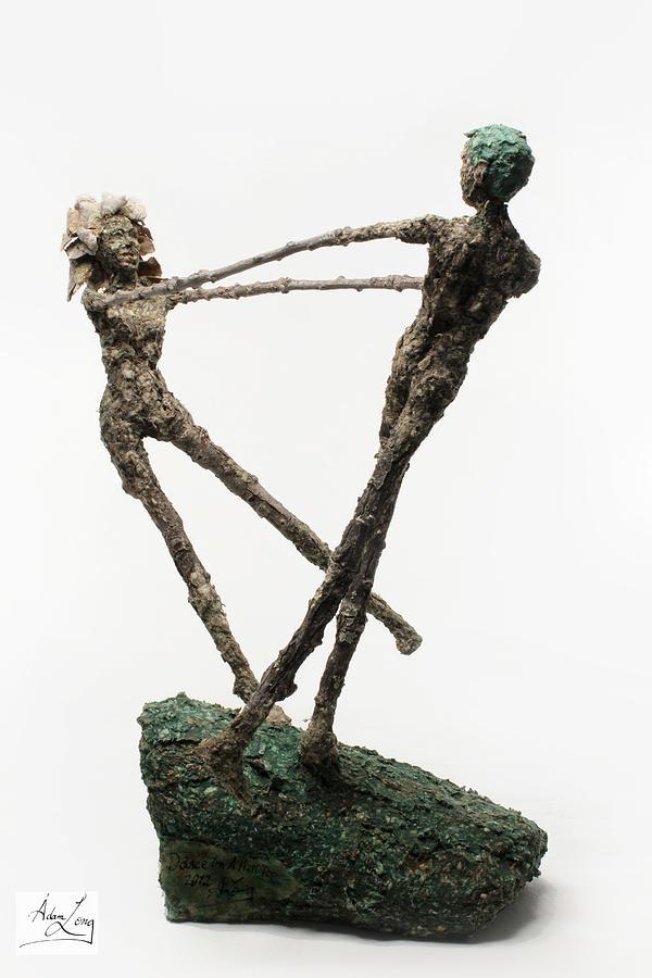 Dance Sculpture - Dance On A Hill Top Back View by Adam Long