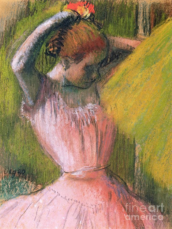 Dancer Arranging Her Hair Pastel by Edgar Degas