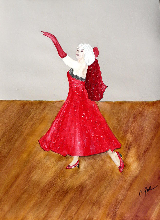 Woman Dancer Red Dress Gown Beautiful Gloves Shawl Wood Heels Blonde Lady Dance Ballroom  Painting - Dancer by Cathy Jourdan