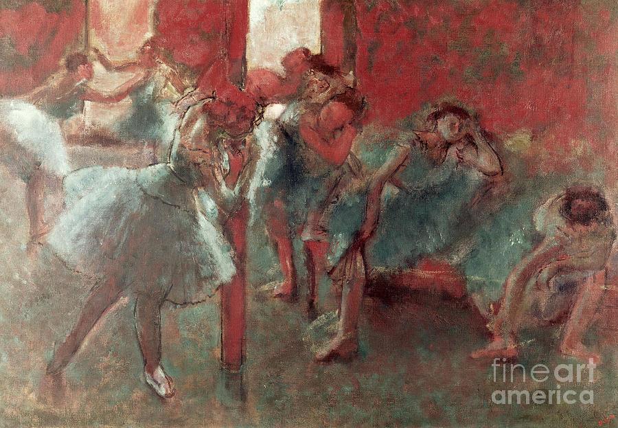 Dancers Painting - Dancers At Rehearsal by Edgar Degas