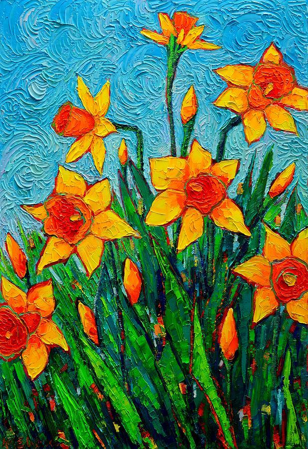 dancing daffodils spring flowers original palette
