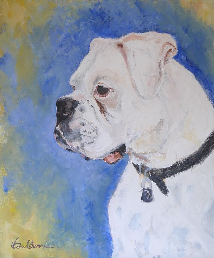Animals Painting - Danger The White Boxer by Veronica Coulston