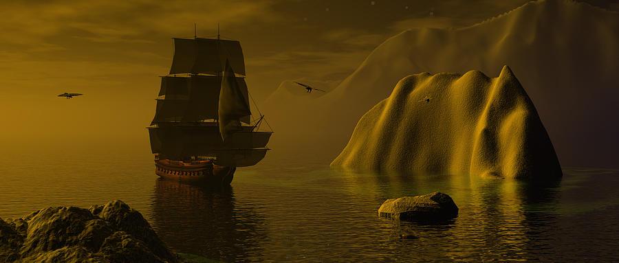 Bryce 3d Scifi Fantasy  \tall Ship\  Windjammer \\\sailing Ship\\\ Sailing Digital Art - Dangerous Waters by Claude McCoy