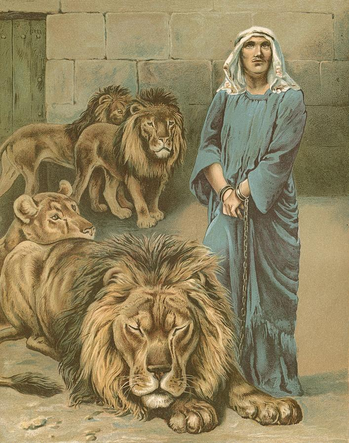 Daniel In The Lions' Den By John Lawson (19th Century) Bible Painting - Daniel In The Lions Den by John Lawson