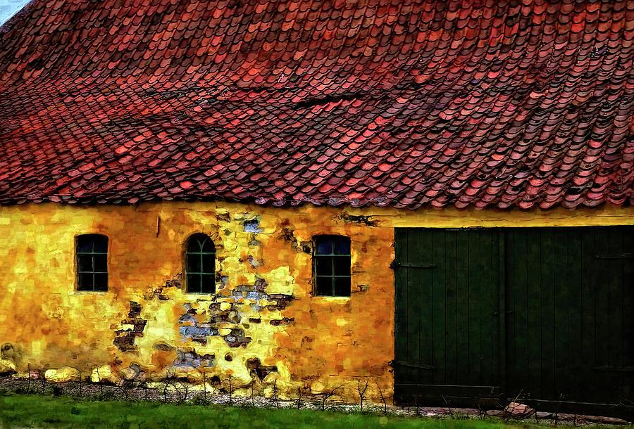 Danish Barn Watercolor Version Photograph