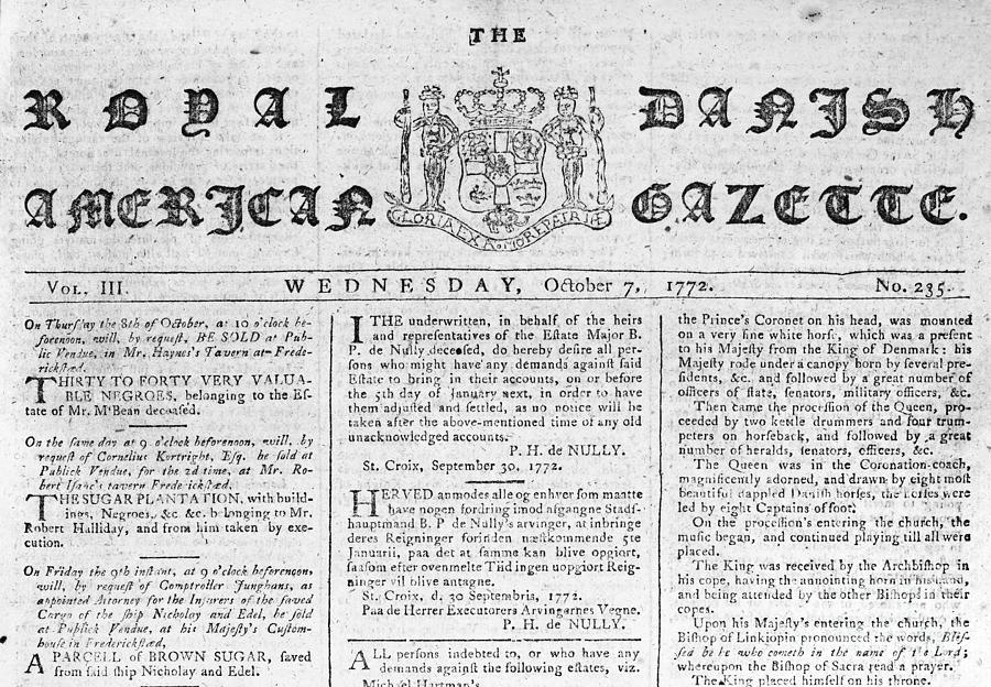 1772 Photograph - Danish West Indies 1772 by Granger