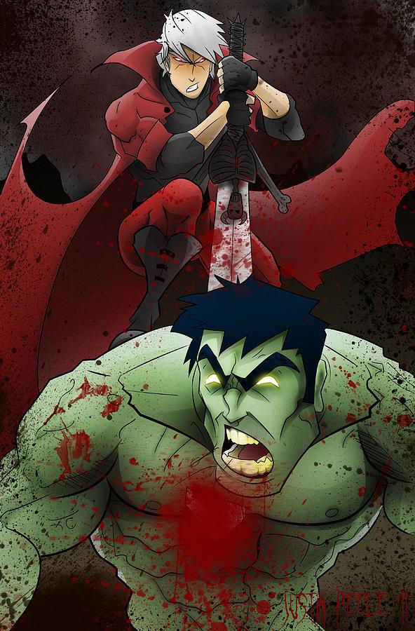 Dante Digital Art - Dante Vs. The Hulk by Justin Peele