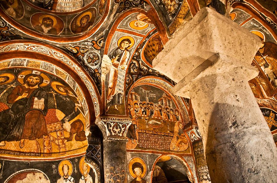 Turkey Photograph - Dark Cave Church Byzantine Frescoes by Denise Lett