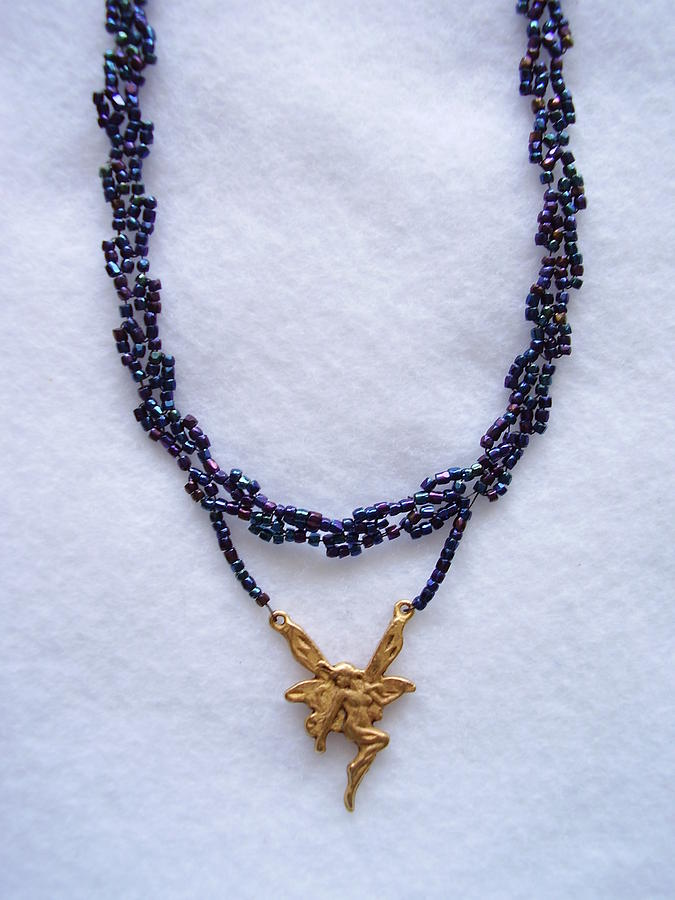 Dark Metallic Blue Choker With A Fairy Charm Jewelry