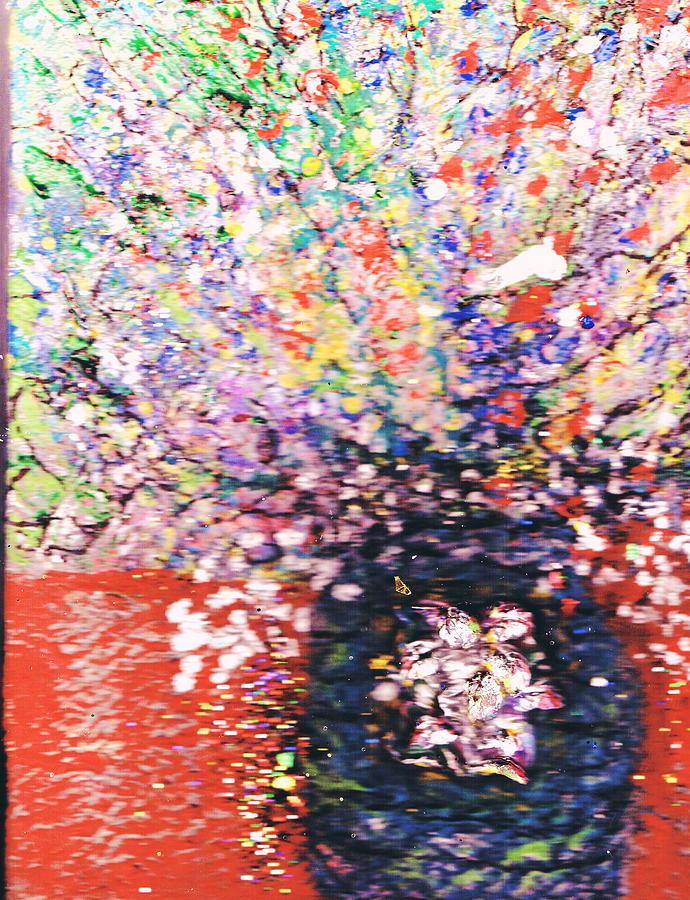 Dark Vase With Flowers Mixed Media