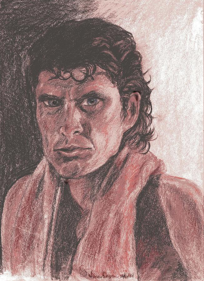 David Hasselhoff Drawing - David Hasselhoff With Towel by Nancy Degan