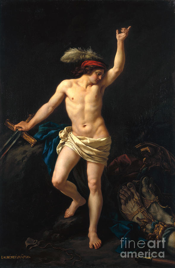 David Painting - David Victorious by Jean Jacques II Lagrenee