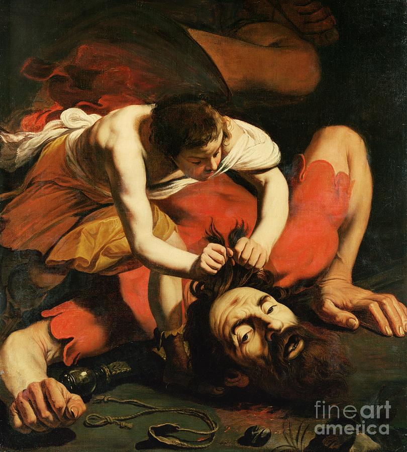 Catapult; Weapon; Old Testament; Samuel; Chiaroscuro; Goliath; Decapitation; Head; Beheading; Beheaded; Decapitated; Hebrew King; Philister; Philistine; Beard Painting - David With The Head Of Goliath by Michelangelo Caravaggio
