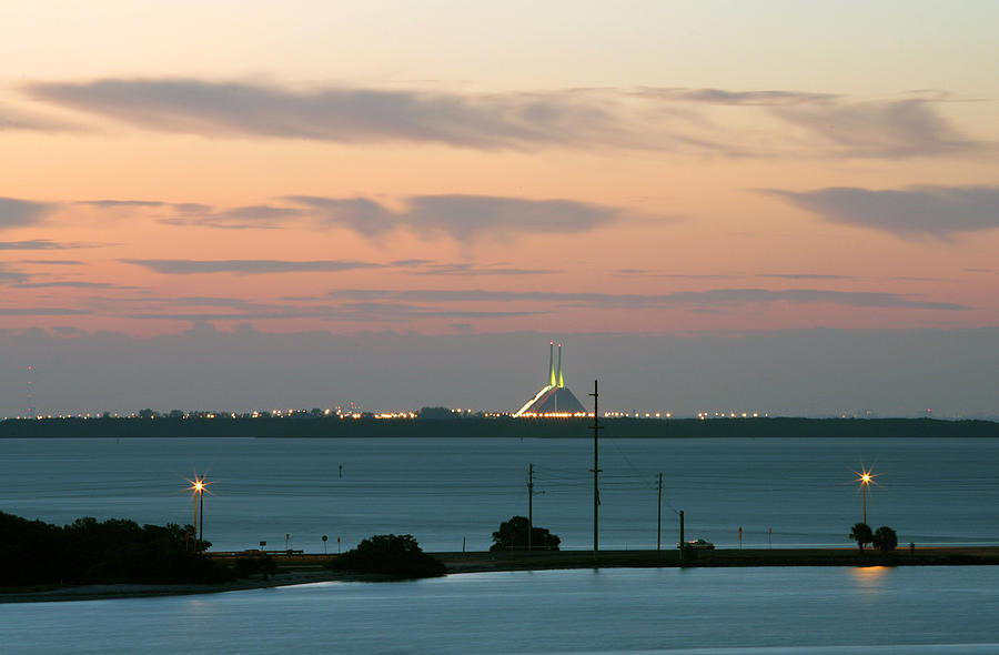 Sunshine Photograph - Dawn At The Sunshine Skyway Bridge Viewed From Tierra Verde Florida by Mal Bray